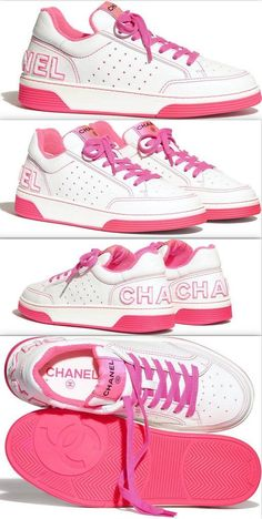 Chanel Sneakers Pink ~ Sporty and Chic, these Pink Leather Chanel Sneakers are perfect with so many outfits. Pair these Leather Chanel Logo Sneakers with white shorts, jeans, flirty floral dress, and leggings. Chanel Sneakers, Pink Sneakers, Floral Dress Outfits, Dress Casual, Baskets, Chanel Logo, Chanel Brand, Summer Fashion Trends, Look At You