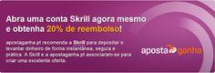 Receba um REEMBOLSO de 20% até €10 no seu primeiro depósito na Skrill (Moneybookers) se abrir agora uma conta gratuita Skrill (Moneybookers). Não perca tempo – o bónus em dinheiro será atribuído às primeiras 250 novas contas Skrill que façam um depósito com sucesso na Skrill. Esta oferta ainda está disponível!    http://www.apostaganha.pt/2012/07/12/envie-e-receba-dinheiro-online-com-a-solucao-simples-e-segura-carteira-digital-da-skrill/