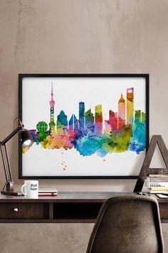 Shanghai print Shanghai skyline Shanghai by iPrintPoster on Etsy
