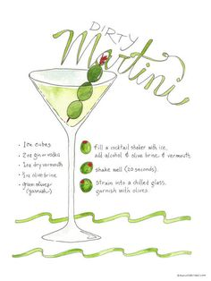 illustrated recipe of Dirty Martini, including ingredients and preparation #drinks