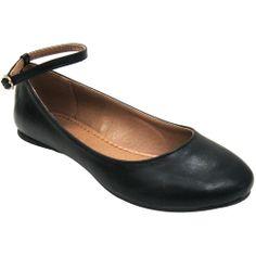 Black Ankle Strap Women's Vegan Ballerina Flat Shoes by Alternative Outfitters Vegan Boutique
