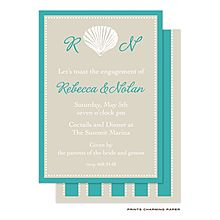 Seashell Engagement Party or Wedding Shower Invitation in sand and teal -use any wording From Little Angel Announcements