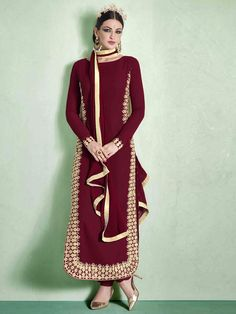 Maroon Georgette Semi Stitched Salwar Suit. To View more collection at www.g3fashion.com For price or detail do whatsApp +91-9913433322. #designer #colourfull #ethnicwear #indian #bridalcollection #partywear#anarkali #shoponline#fashion #fashioninsta#fashionblogger #instagram #instapic #love #likeforlike#designersuit