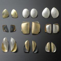 Organic Gold Silver Earrings