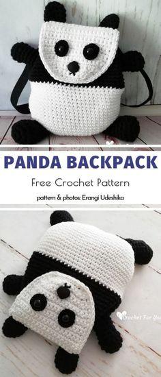Fun Backpacks for Kids Free Crochet Patterns Crochet Panda, Crochet Gratis, Crochet For Kids, Crochet Toys, Free Crochet, Knit Crochet, Crochet Things, Little Backpacks, Cool Backpacks