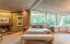 Spectacular Midcentury Modern, Designed by Harold Turner, Lists in Bloomfield Hills Bloomfield Hills, Organic Architecture, Midcentury Modern, Mid Century, House Built, Lloyd Wright, Natural Materials, Building, Lush
