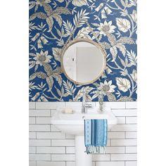 Botanical Wallpaper, Graphic Wallpaper, Wallpaper Roll, Pattern Wallpaper, Flower Wallpaper, Bohemian Wallpaper, Eclectic Wallpaper, Victorian Wallpaper, Blue And White Wallpaper