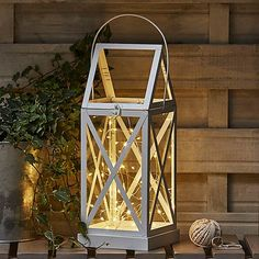 Cream Outdoor Metal Lantern with Firefly Lights | Dunelm Lantern Set, Metal Lanterns, String Lights Outdoor, Soft Furnishings, Candle Holders, Sweet Home, Glow, New Homes, Bulb