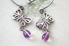 Amethyst Sterling Silver Butterfly Dangle Earrings