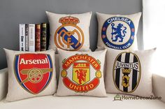Football clubs throw pillow cover Arsenal FC by HomeDecorZone // I'll take 2 of Real Madrid please