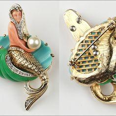 Hattie Carnegie Jewelry (Hattie Carnegie Mermaid - True Vintage vs Reproduction)
