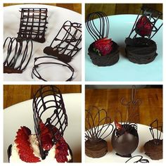 Chocolate Garnishes-Chocolate Decorations-Pate a Glacer-Pastry Plating-How to Recipe Más
