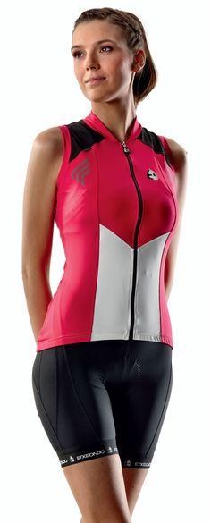 cycling jerseys women | Hiruki Sleeveless Cycling Jersey for women - in Rose by Etxe Ondo