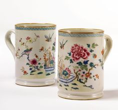 A PAIR OF CHINESE EXPORT PORCELAIN FAMILLE-ROSE MUGSQING DYNASTY, CIRCA 1750. Visit Renaissance Fine Jewelry in Vermont or at www.vermontjewel.com. Where New England Gets Engaged!