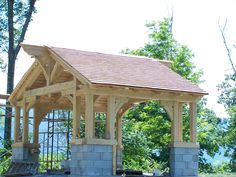 American Arts and Crafts Movement Red Cedar Roof Vermont Timberframe Cedar Roof, Red Cedar, Outdoor Rooms, Outdoor Living, Garden Structures, Outdoor Structures, Timber House, Outside Living, Old Barns