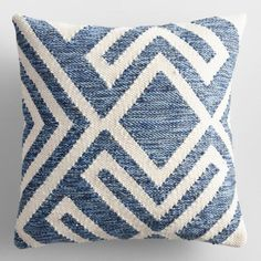 Blue and Ivory Geometric Indoor Outdoor Patio Throw Pillow by World Market Our exclusive throw pillow features a textured blue geometric design against a cream background. Woven with thread made from Diy Throw Pillows, Blue Pillows, Outdoor Throw Pillows, Decorative Throw Pillows, Accent Pillows, Patio Furniture Cushions, Patio Pillows, Chair Cushions, Outdoor Furniture