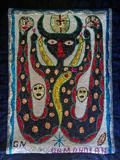 This is a sequined voodoo flag of Damballa by Haitian artist Gus Nul for sale   Nader Haitian Art