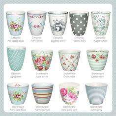 GreenGate ceramics and stoneware latte cups