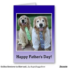 Golden Retriever in Shirt and Tie Father's Day Greeting Card