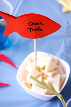Warning: ONE OF MY FAVORITES!  Under The Sea Birthday Party- Party Food: Shark teeth(Cheese)  It doesn't get much easier then this. Another snack alternative that will surely get the little guests giggling.