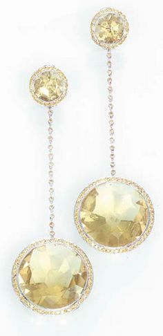 A PAIR OF DIAMOND AND GEM-SET EAR PENDANTS, BY MICHELE DELLA VALLE Each designed with a large circular-cut lemon citrine within a yellow diamond surround to the yellow diamond spectacle-link chain and cluster top, 9.2 cm. long, with green suede Michele della Valle pouch Signed della Valle for Michele della Valle