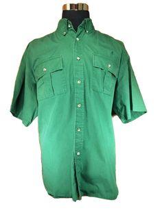 VTG Remington Casual Shirt Mens 2XL Green Button Down Short Sleeve Cotton #Remington #ButtonFront