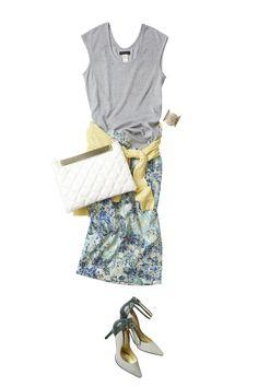 グリーンのペンシルスカートで着こなす春の爽やかコーディネート ― A
