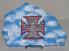 Studs/Iron Cross/Blue Sky Flagstone Painting By Elissa Dawn Shakal (With Easel) #NA
