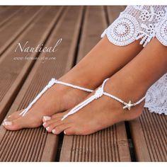 Nautical Bridal Foot jewelry-Rhinestone Starfish Beach wedding White... ($19) ❤ liked on Polyvore featuring jewelry