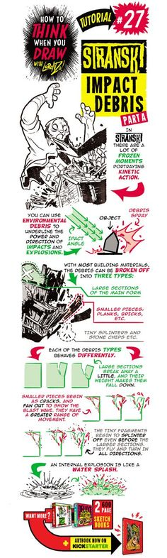 Here's the second of my special STRANSKI  tutorials, this one looking at how to draw IMPACT DEBRIS , useful for drawing explosions and destr... #Drawingtips