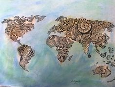 Items similar to zentangle world map art print on etsy woodshop zentangle water paint original world map size a4 by dolyushart on etsy gumiabroncs Images