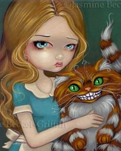 strangeling :: Cheshire Cat Cuddle Alice in Wonderland gothic fairy tale fairytale art print by Jasmine Becket-Griffith Lewis Carroll, Alice In Wonderland Series, Wonderland Party, Chesire Cat, Pin Up, Fine Art Prints, Canvas Prints, Gothic Fairy, Fairy Art