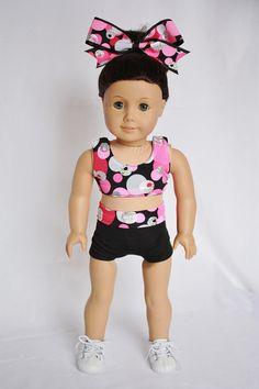 """American Girl  18"""" Doll Clothes and Accessories -  Cheer Sports Bra and Shorts - Pink and Black Dots on Etsy, $20.00"""