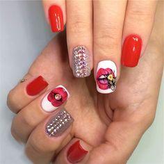 Nail Art Tutorial: Red and White Nails with Pattern and Rhinestones