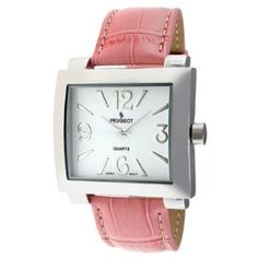 Peugeot Women's 706PK Silver-Tone Pink Leather StrapWatch