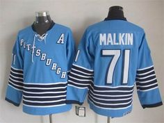 Pittsburgh Penguins #71 Evgeni Malkin Light Blue CCM Throwback Jersey $32.0