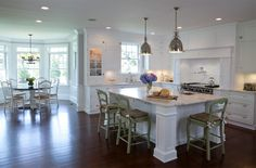 This Hamptons style kitchen features all the elements of a classic-style Hamptons home. Ken Kelly designed the space with an open floor plan. See details...
