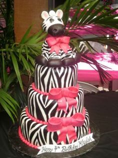 Adorable Zebra Cake! @Izzy and Danielle, your mom should totally make this for your 16th birthday.