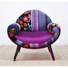 Smiley Patchwork Armchair Purple Love ($1,600) ❤ liked on Polyvore featuring home, furniture, chairs, accent chairs, chairs & ottomans, grey, home & living, living room furniture, grey chair and patchwork chair