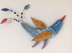 Der blaue Vogel mit gelben Flügeln von natalyasots auf Etsy