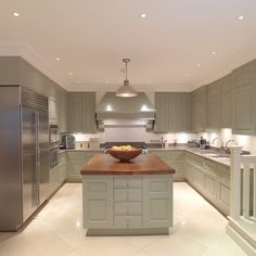 This light and airy kitchen was painted in green.