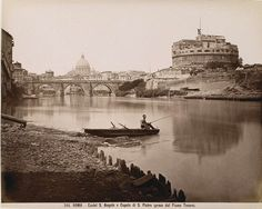 Rome, Castel Sant'Angelo and Dome of St. Peter's (from the Tiber River) 1856-1881 (ca)