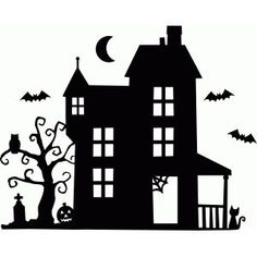 Welcome to the Silhouette Design Store, your source for craft machine cut files, fonts, SVGs, and other digital content for use with the Silhouette CAMEO® and other electronic cutting machines. Casa Halloween, Halloween Haunted Houses, Halloween Items, Halloween Signs, Diy Halloween Decorations, Holidays Halloween, Halloween Crafts, House Silhouette, Silhouette Design