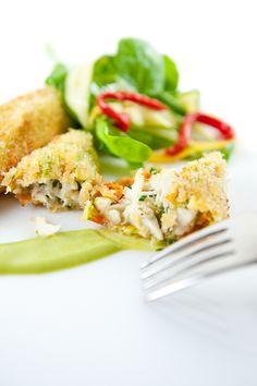 Crab-Stuffed Zucchini Flowers with Basil Sauce & Watercress Salad