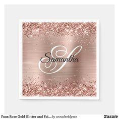 Faux Rose Gold Glitter and Foil Fancy Monogram Napkins