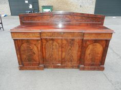 ANTIQUE FURNITURE WAREHOUSE - 6ft Width Post Regency Quadruple Width Mahogany Fitted Sideboard Of Shallow Depth