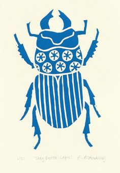 Stag beetle lino print (lapis blue) on Etsy, $42.74  This one's cool and it's about the right color, too!