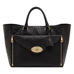 Mulberry Willow Tote in Black Ostrich LOVE THIS! #bag #fashion #Mulbery