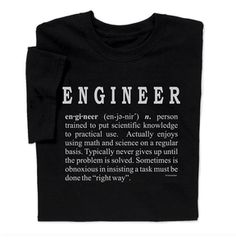 This Engineer Definition T-shirt engineer shirt defines the traits of a typical engineer and makes the perfect engineer gift engineer T-shirt.