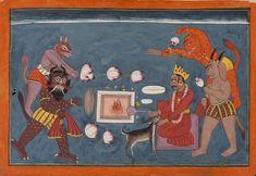 Miniature Paintings, Hanuman, Indian Art, Miniatures, Architecture, Asia, Indian Artwork, Arquitetura, Indian Paintings